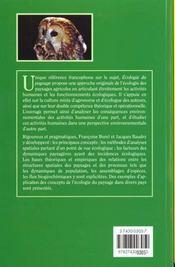 Ecologie Du Paysage - 4ème de couverture - Format classique