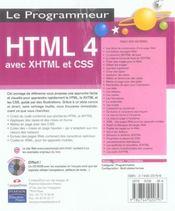 Html 4 avec xhtml et css - 4ème de couverture - Format classique