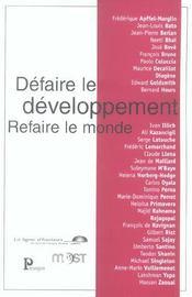 Defaire Le Developpement Refaire Le Monde - Intérieur - Format classique