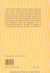 Oedipe De Corneille Et Oedipe De Voltaire - 4ème de couverture - Format classique