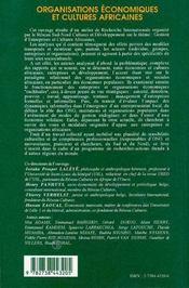 Organisations Economiques Et Cultures Africaines - 4ème de couverture - Format classique