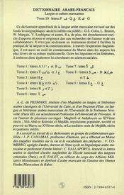 Dictionnaire Arabe-Francais T.10 ; F-K - 4ème de couverture - Format classique