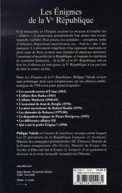 Les enigmes de la Ve republique - 4ème de couverture - Format classique