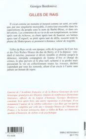 Gilles De Rais - 4ème de couverture - Format classique