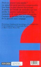 La Pensee D'Outre Mots. La Pensee Sans Langage Et La Relation Pensee-Langage - 4ème de couverture - Format classique