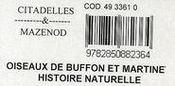 Histoire naturelle des oiseaux de Buffon - 4ème de couverture - Format classique