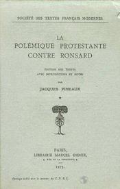 La Polemique Protestante Contre Ronsard - Couverture - Format classique