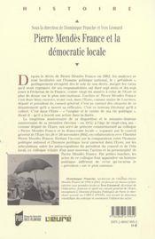 Pierre Mendes France Et La Democratie Locale - 4ème de couverture - Format classique