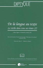 De la langue au texte ; le verbe dans tout ses états - Couverture - Format classique