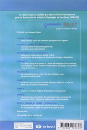 Staps N.96/97 - 4ème de couverture - Format classique