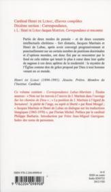 Correspondance Et Rencontres - 4ème de couverture - Format classique