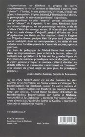 Improvisations Sur Rimbaud - 4ème de couverture - Format classique
