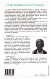 Developpement Institutionnel - 4ème de couverture - Format classique