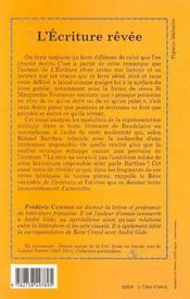 L'Ecriture Revee - 4ème de couverture - Format classique