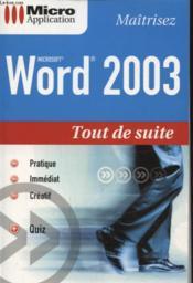 Word 2003 - Couverture - Format classique