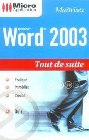 Word 2003 - Intérieur - Format classique