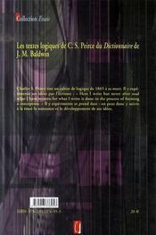 Les textes logiques de peirce dans le baldwin dictionary - 4ème de couverture - Format classique