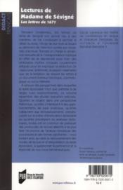 Lectures de Madame de Sévigné ; les lettres de 1671 - 4ème de couverture - Format classique