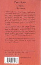 La Beaute M'Insupporte - 4ème de couverture - Format classique