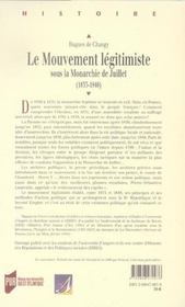 Mouvement Legitimiste Sous La Monarchie De Juillet - 4ème de couverture - Format classique
