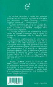 La décision stratégique en action, une perspective socio-cognitive - 4ème de couverture - Format classique