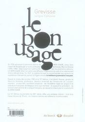 Le bon usage (14e édition) - 4ème de couverture - Format classique