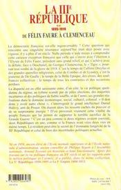 La Troisieme Republique T2 De Felix Faure A Clemenceau 1895-1919 - 4ème de couverture - Format classique