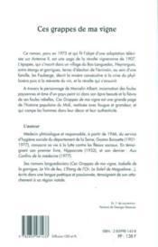 Grappes De Ma Vigne, Oeuvre Romanesque Volume 1 - 4ème de couverture - Format classique