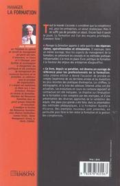 Manager La Formation - 4ème de couverture - Format classique