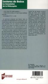 Lectures de Boèce ; la consolation de la philosophie - 4ème de couverture - Format classique