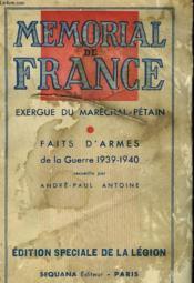 Memorial De France. Exergue Du Marechal Petain, Faits D'Armes De La Guerre 1939-1940 - Couverture - Format classique