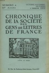 CHRONIQUE DE LA SOCIETE DES GENS DE LETTRES DE FRANCE N°4, 97e ANNEE ( 4e TRIMESTRE 1962) - Couverture - Format classique