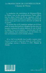 La Production De L'Ostreiculteur ; L'Homme Des Lestran - 4ème de couverture - Format classique