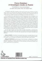 Forces Feminines Et Dynamiques Rurales En Tunisie ; Contributions Socio-Economiques - 4ème de couverture - Format classique
