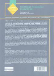 Politique Regionale Europeenne - 4ème de couverture - Format classique