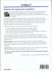 Maitrise Des Expressions Regulieres - 4ème de couverture - Format classique