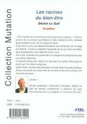 Racines Du Bien-Etre (Les) (2e édition) - 4ème de couverture - Format classique
