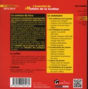 L'essentiel de l'histoire de la gestion (4e édition) - 4ème de couverture - Format classique