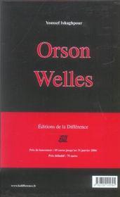 Orson Welles Cineaste - Une Camera Visible - 4ème de couverture - Format classique