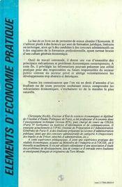 Elements D'Economie Pratique - 4ème de couverture - Format classique