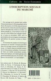 L'Inscription Sociale Du Marche - 4ème de couverture - Format classique