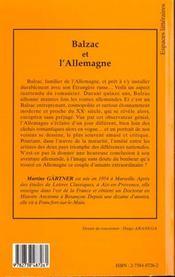 Balzac et l'Allemagne - 4ème de couverture - Format classique
