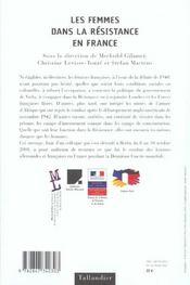 Les Femmes Dans La Resistance En France - 4ème de couverture - Format classique