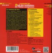 L'essentiel du droit des institutions de l'union européenne (3e édition) - 4ème de couverture - Format classique