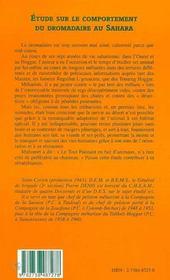 Etude Sur Le Comportement Du Dromadaire Au Sahara - 4ème de couverture - Format classique