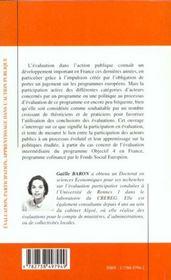 Evaluation Participation Apprentissage Dans L'Action Publique - 4ème de couverture - Format classique