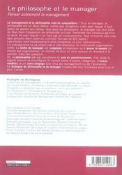 Le Philosophe Et Le Manager Penser Autrement Le Management - 4ème de couverture - Format classique