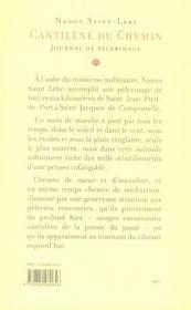 Cantilène du chemin ; journal de pèlerinage ; de saint-jean-pied-de-port à saint-jacques-de-compostelle - 4ème de couverture - Format classique