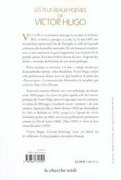 Les plus beaux poèmes de Victor Hugo - 4ème de couverture - Format classique
