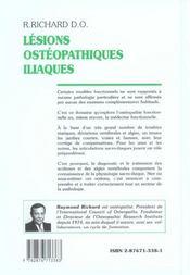 Lesions Osteopathiques Iliaques ; Physiopathologie Et Techniques De Normalisation ; 30 Ans D'Experience Pratique - 4ème de couverture - Format classique